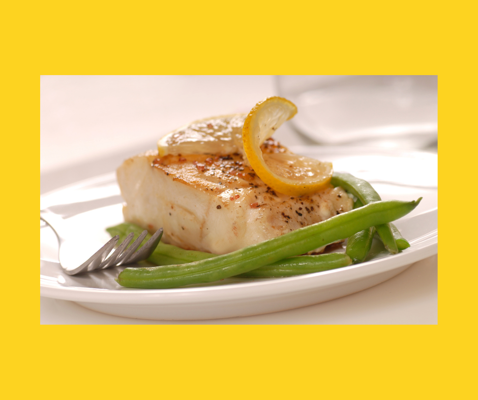 Baked Cod with green beans.
